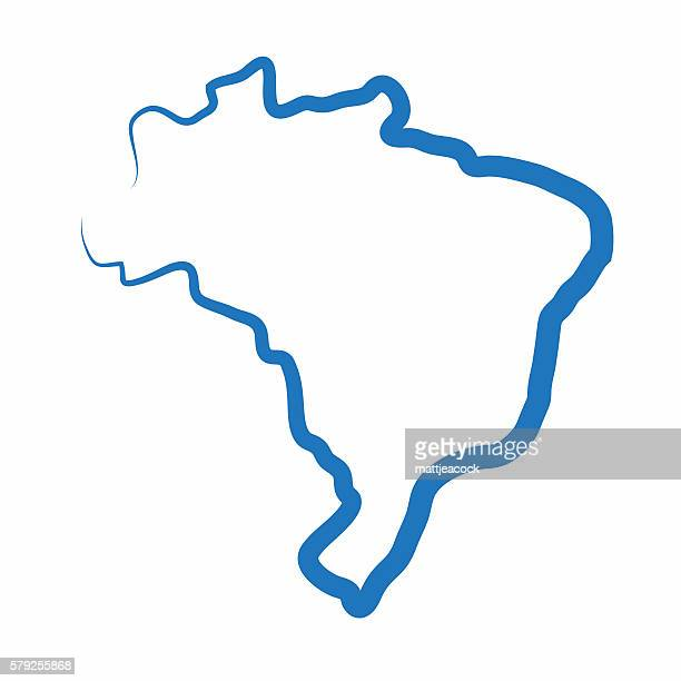 Brazil outline map made from a single line