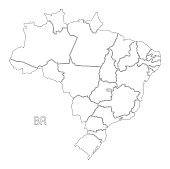 Brazil outline silhouette map illustration with districts