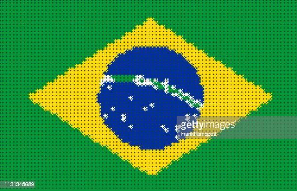 Brasilien Pixelte Vektorflagge
