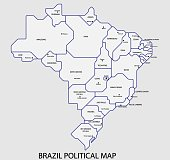 Brazil political map divide by state colorful outline simplicity style.