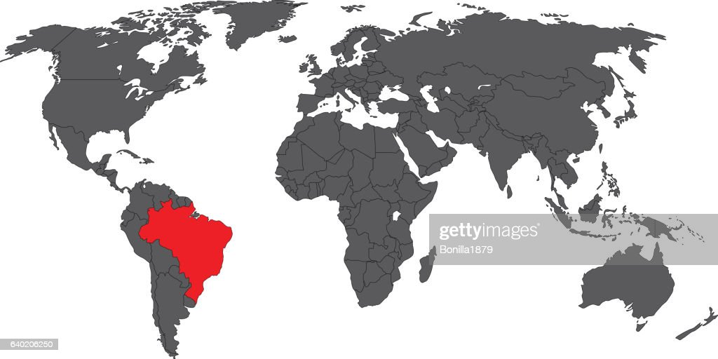 Brazil Red On Gray World Map Vector Stock-Illustration - Getty Images