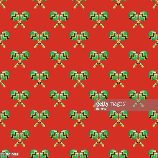 brazil seamless pattern - maraca stock illustrations, clip art, cartoons, & icons