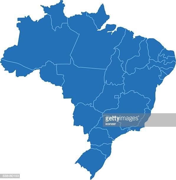 brazil simple blue map on white background - brazil stock illustrations