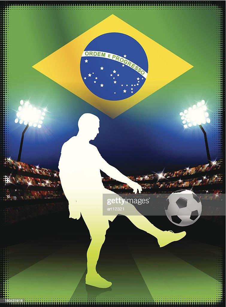 Brazil Soccer Player on Stadium Background