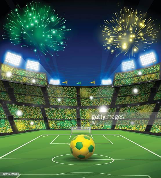 ilustrações, clipart, desenhos animados e ícones de estádio de futebol brasileiro - football