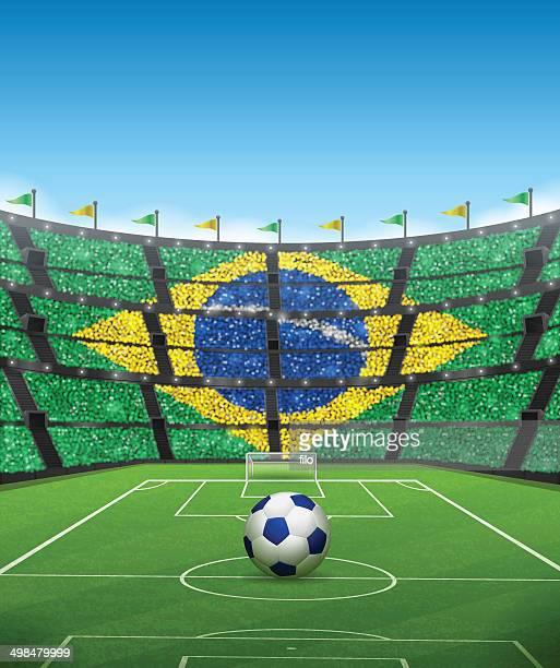 ilustraciones, imágenes clip art, dibujos animados e iconos de stock de estadio de fútbol de brasil - marcar términos deportivos