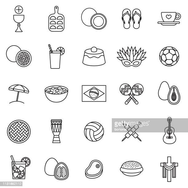 brazil thin line icon set - pastry lattice stock illustrations, clip art, cartoons, & icons