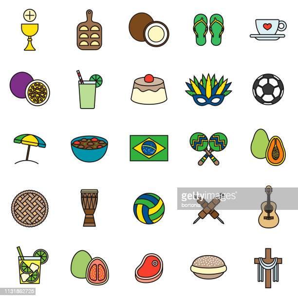 ilustraciones, imágenes clip art, dibujos animados e iconos de stock de conjunto de iconos de línea delgada de brasil - vóleibol de playa