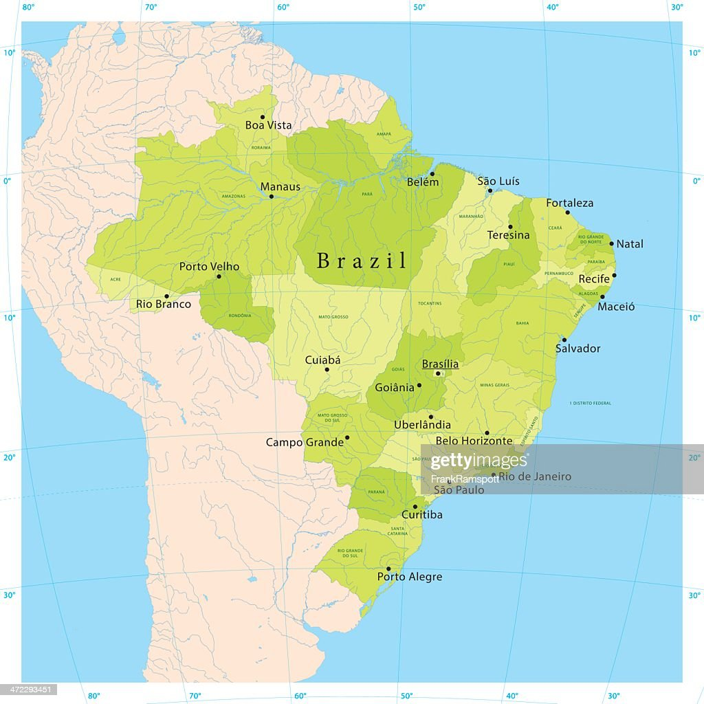 Brazil Vector Map Vector Art Getty Images