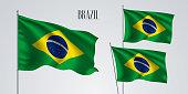 Brazil waving flag set of vector illustration