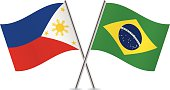 Brazilian and Philippines flags. Vector.
