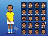 Brazilian Badminton Player Cartoon Emotion Faces Vector Illustration