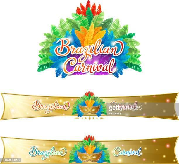 brasilianische karneval feder kopfschmuck & web-banner - samba stock-grafiken, -clipart, -cartoons und -symbole