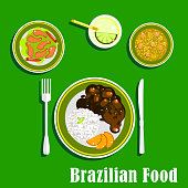 Brazilian cuisine icons with national dishes