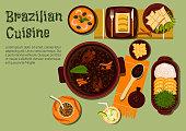 Brazilian dinner with feijoada stew flat icon
