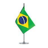 Brazilian flag hanging on the metallic pole, vector illustration