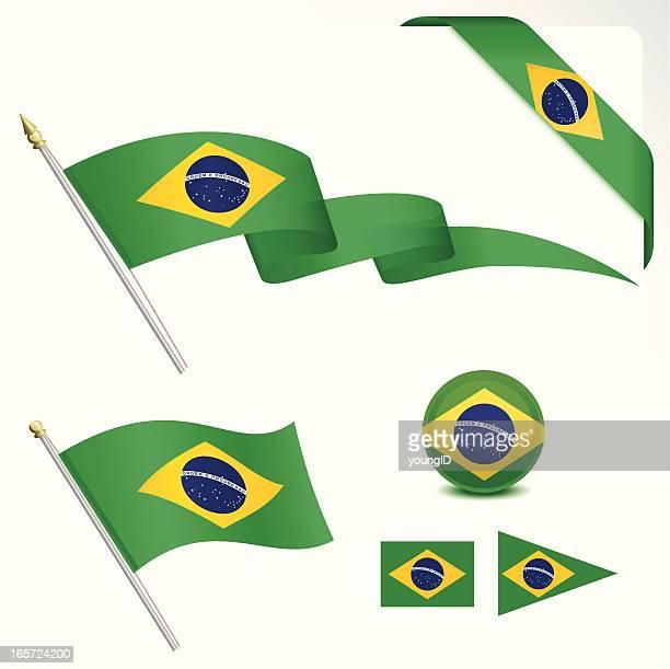 brazilian flag set - pennon stock illustrations