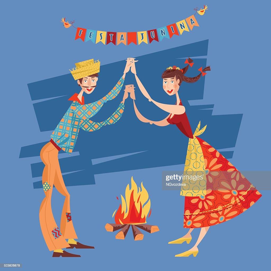 Brazilian holiday Festa Junina. Couple dancing traditional dance Quadrilha.