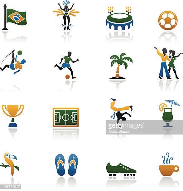 ilustrações de stock, clip art, desenhos animados e ícones de conjunto de ícones do brasil - samba
