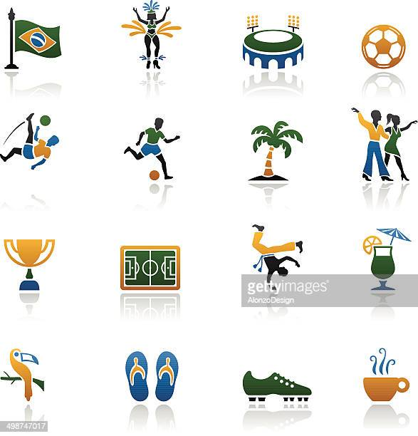 brazilian icon set - samba dancing stock illustrations, clip art, cartoons, & icons