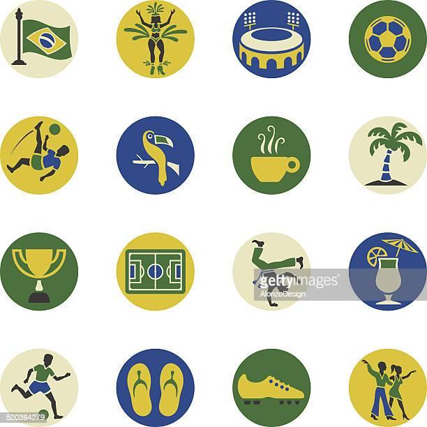 illustrazioni stock, clip art, cartoni animati e icone di tendenza di set di icona brasiliano - samba