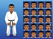 Brazilian Judo Cartoon Emotion Faces Vector Illustration