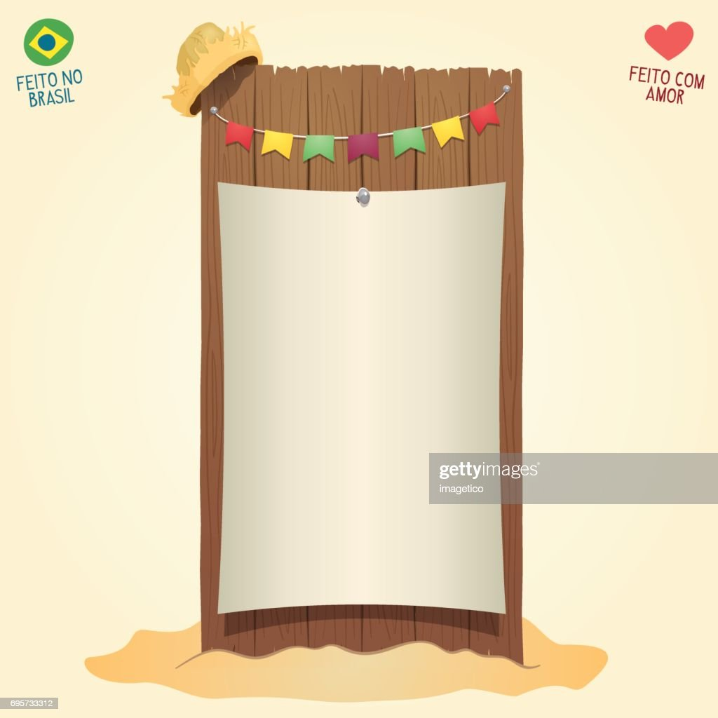 Brazilian June Party cool blank thematic board with flags and a straw hat