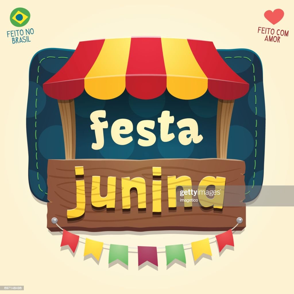 Brazilian June Party Cool thematic tent with wooden sign