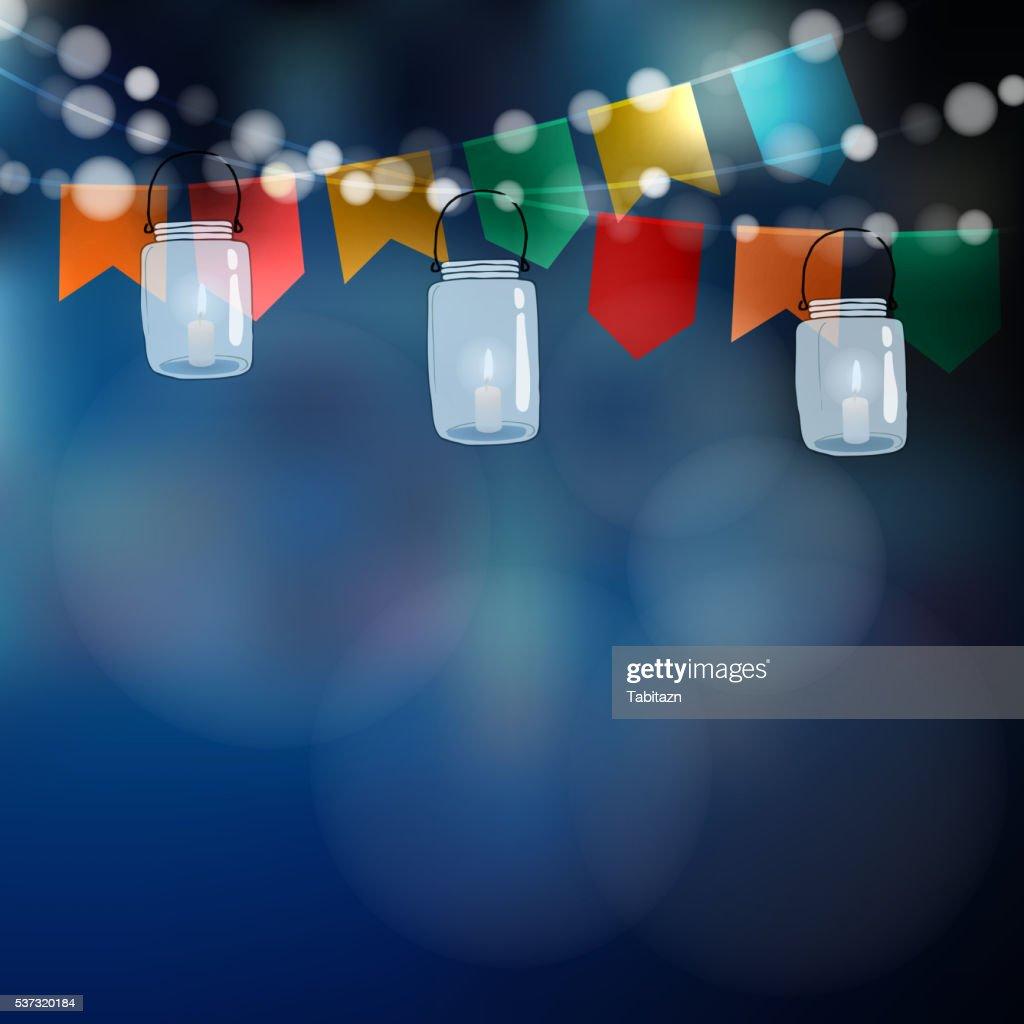 Brazilian june party. Festa junina. Flags, jar lanterns.