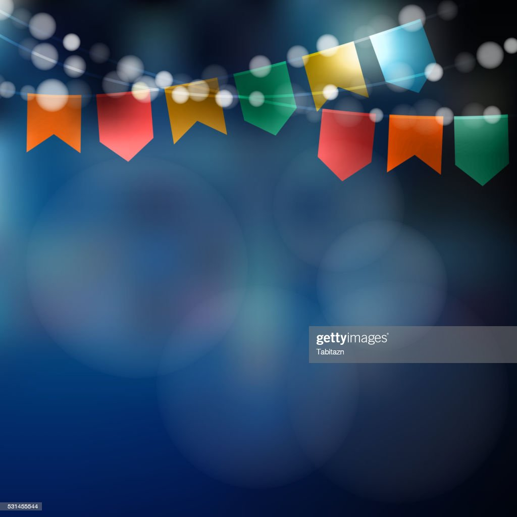 Brazilian june party. Festa junina. Lights, party flags. Party decoration.