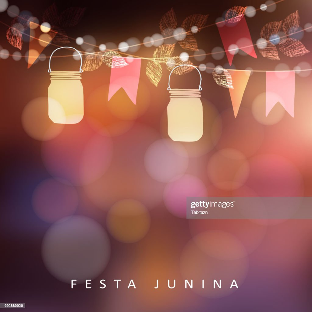 Brazilian june party Festa Junina, midsummer celebration or summer garden party. Vector illustration background with garland of lights, glass jars lanterns and flags