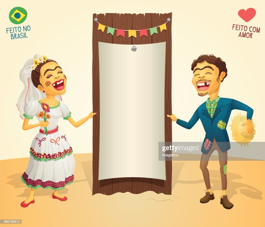 Brazilian June Party happy hick couple holding blank thematic board