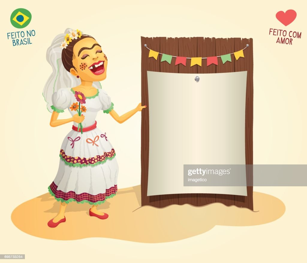 Brazilian June Party hick bride holding blank thematic board