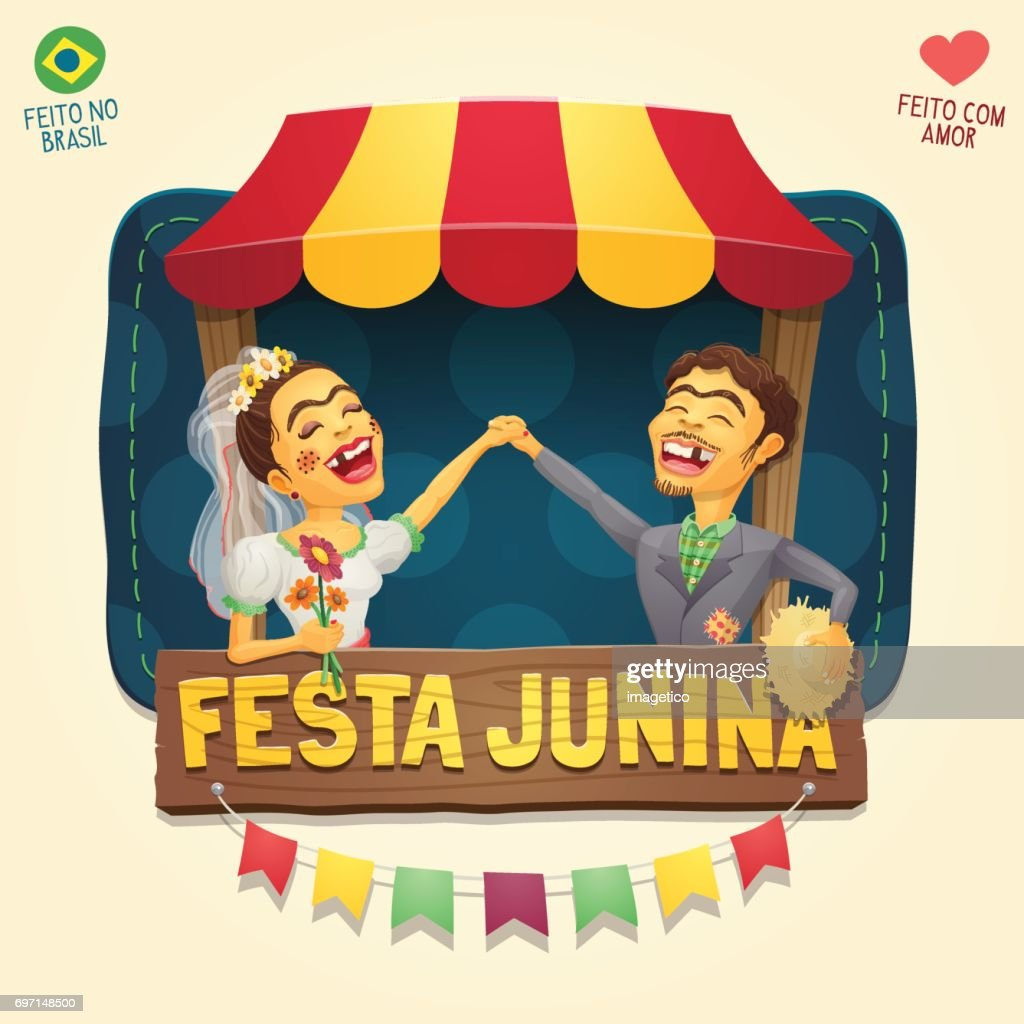 Brazilian June Party hick couple in front of a tent wooden sign header