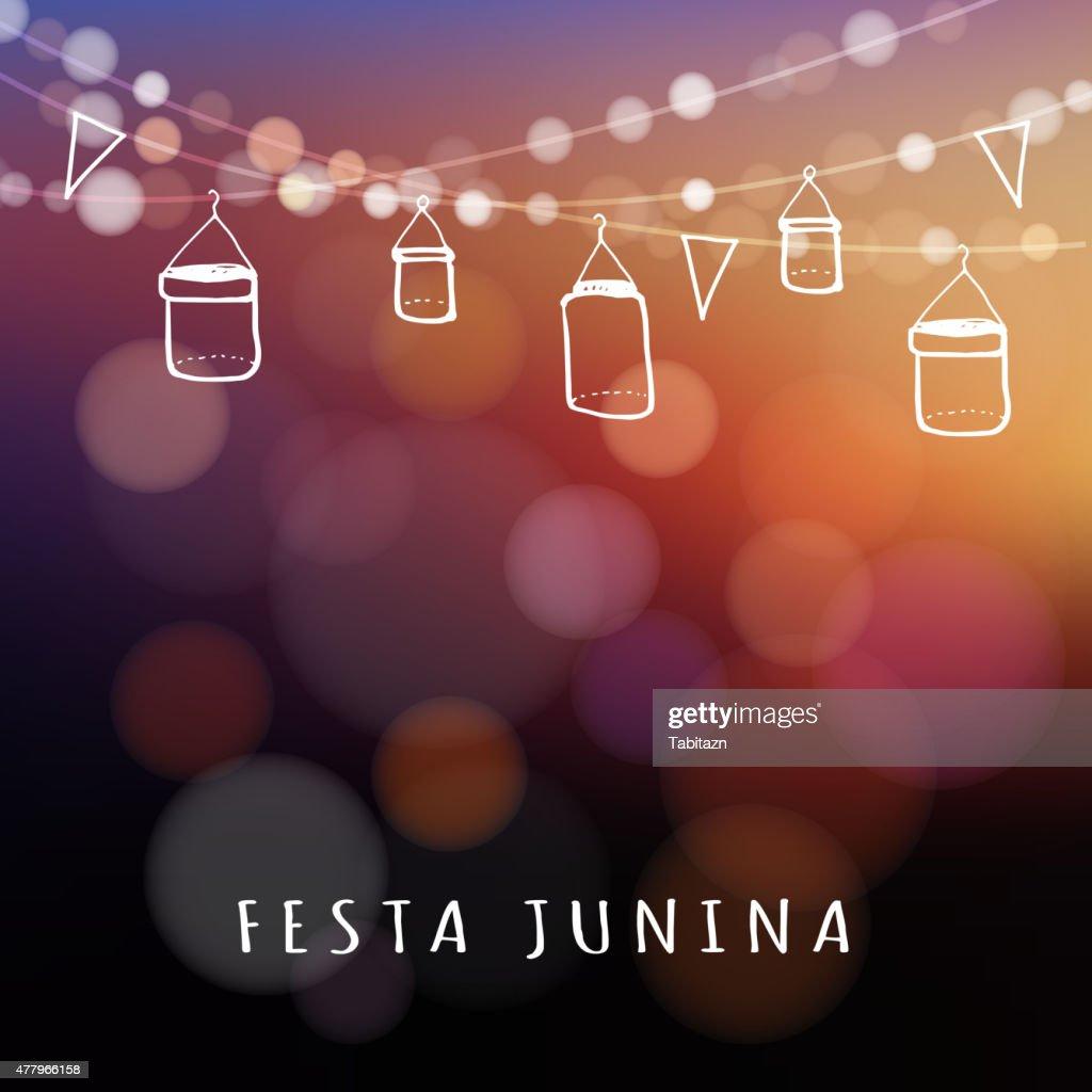 Brazilian june party, midsummer celebration, summer garden party, vector