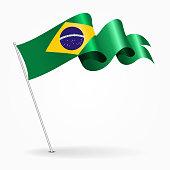 Brazilian pin wavy flag. Vector illustration.