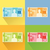 Brazilian Real Set Banknote Flat Design with Shadow