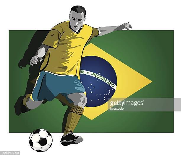 brazilian soccer player - heading the ball stock illustrations