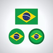 Brazilian trio flags, vector illustration