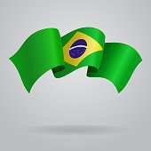 Brazilian waving Flag. Vector illustration