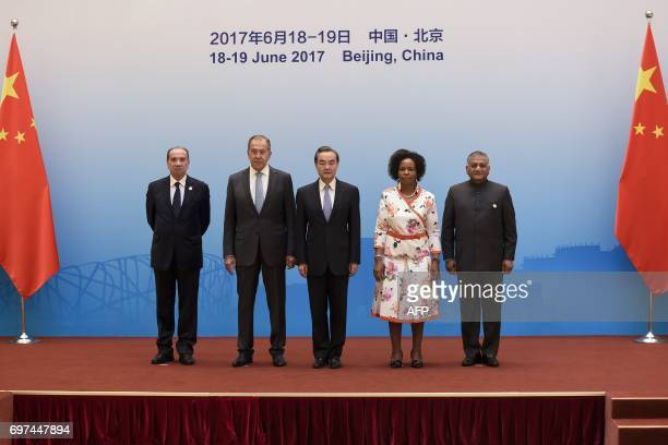 Brazil's Foreign Minister Aloysio Nunes Russia's Foreign Minister Sergey Lavrov South Africa's Foreign Minister Maite NkoanaMashabane and Indian...