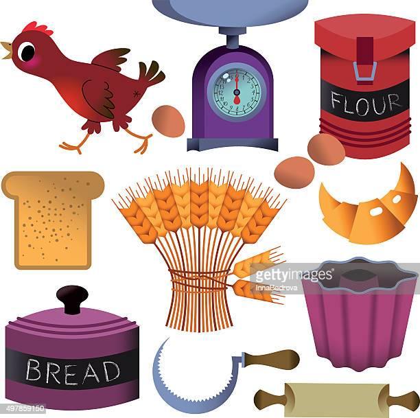 bread and bakery illustration. - bran stock illustrations, clip art, cartoons, & icons