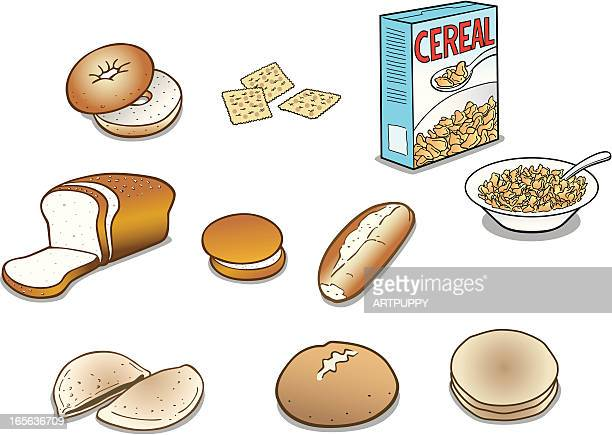 bread and cereal products - cracker snack stock illustrations, clip art, cartoons, & icons