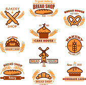 Bread, bakery and pastries signs or icons
