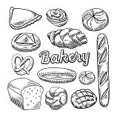 Bread Bakery Food Hand Drawn Doodle