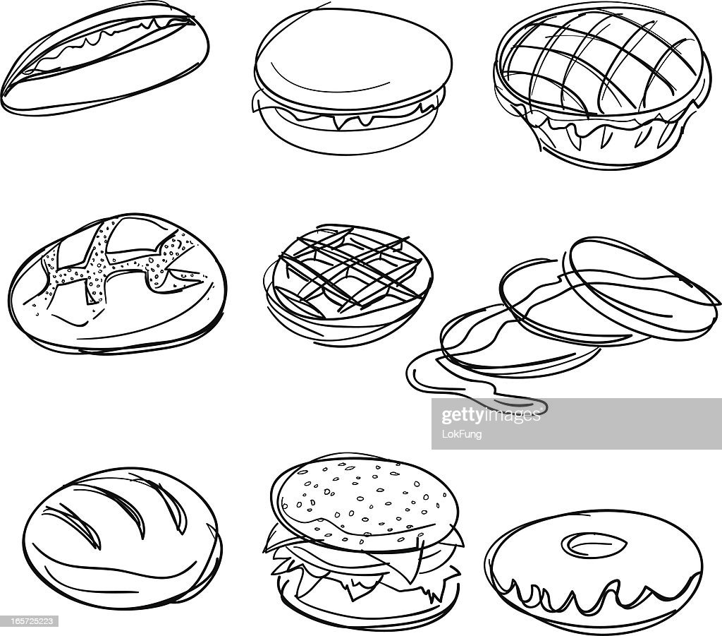 Bread collection in Black and White : stock illustration