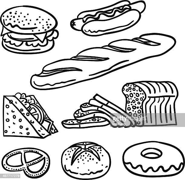 bread collection in black and white - bun bread stock illustrations, clip art, cartoons, & icons