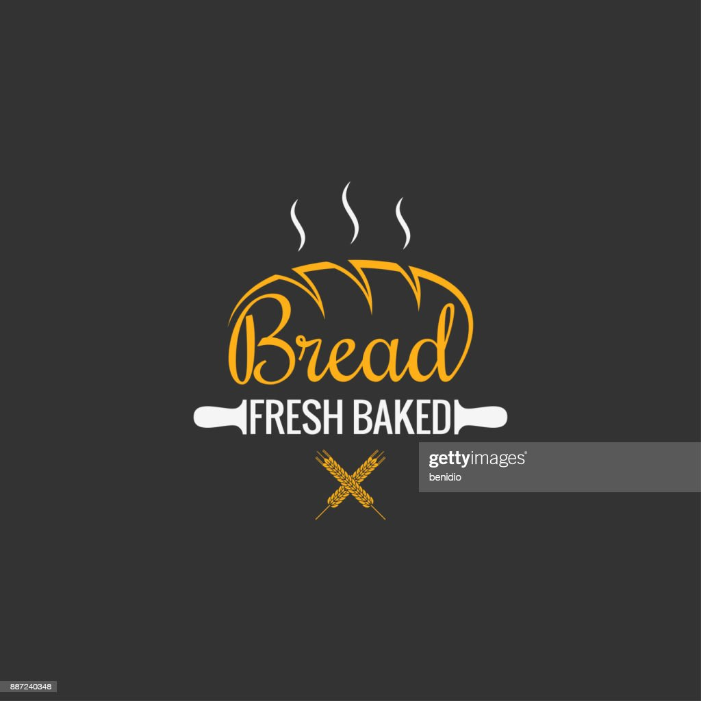 Bread  design. Bakery sign on black background