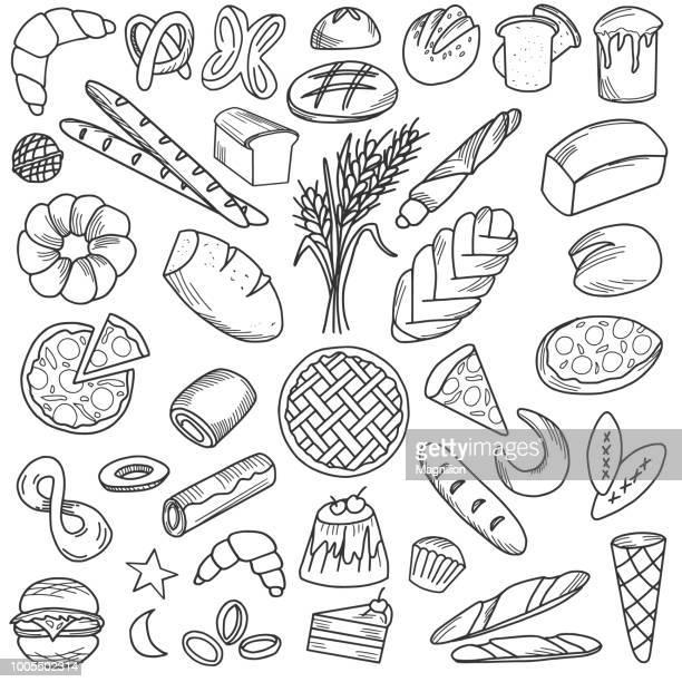 ilustraciones, imágenes clip art, dibujos animados e iconos de stock de pan comida doodles - roscadepascua