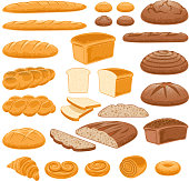 Bread icons set. Vector bakery products.